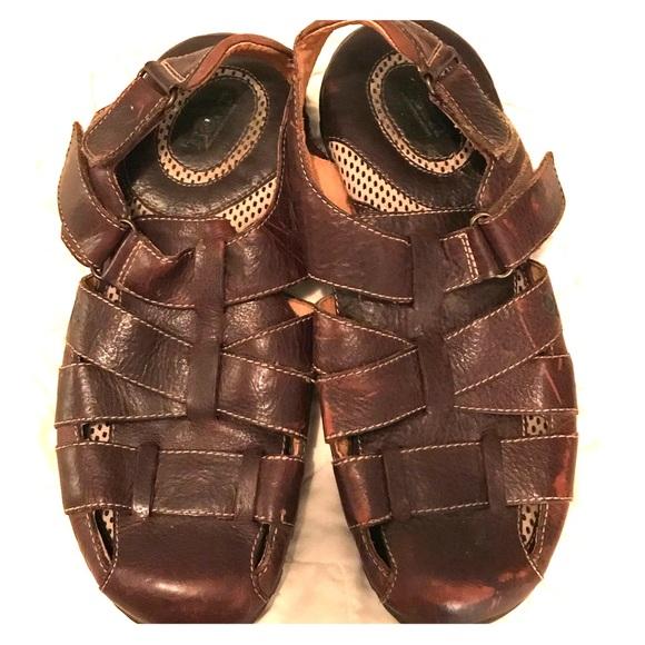 Men's brown leather upper BORN sandals / shoes  sz 13 M